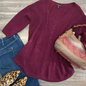 TORRID Wine Sweater Cable Knit Burgundy Tunic  1